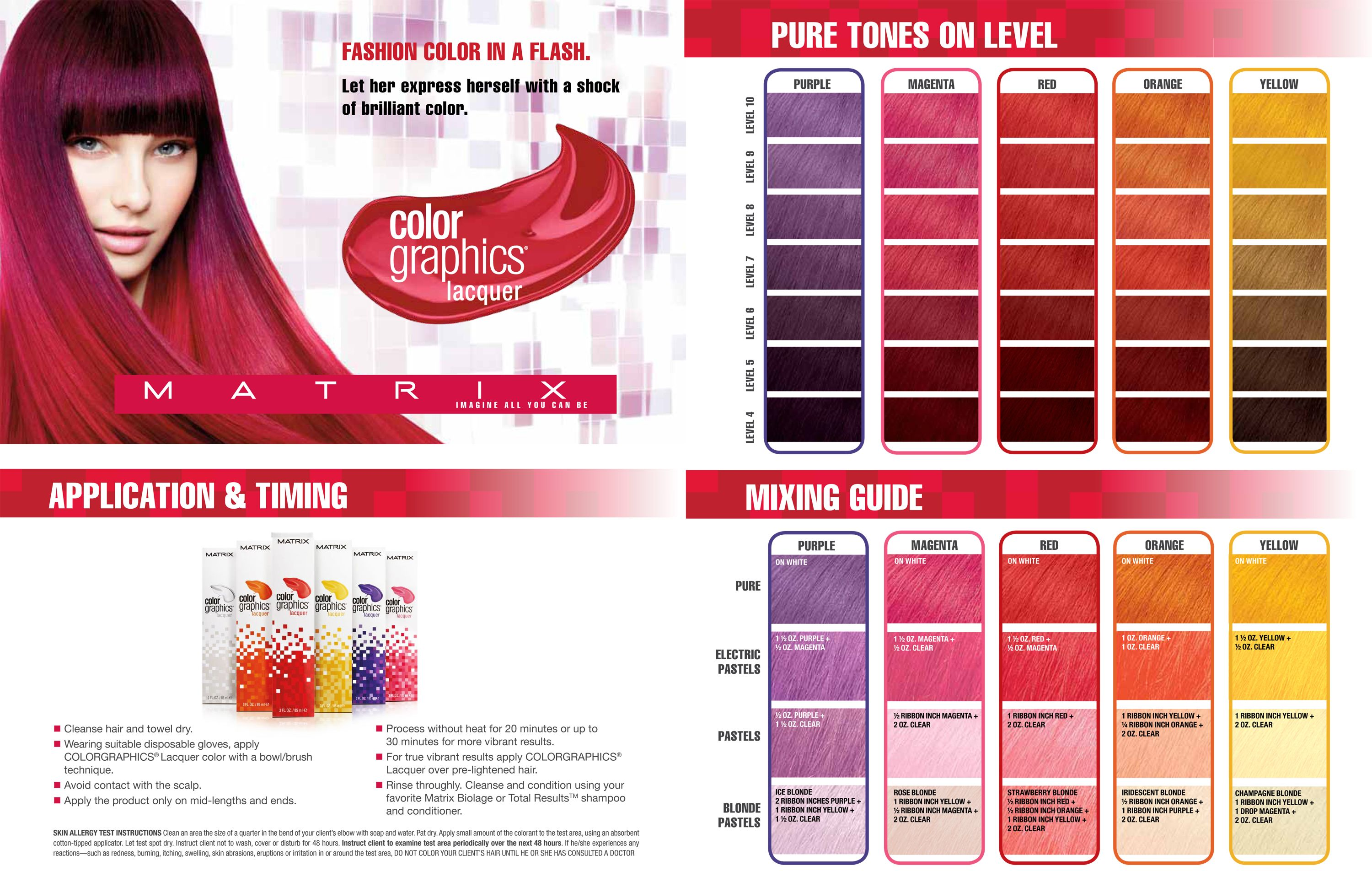 Matrix Colorgrahics Lacquer Application Timing Matrix Hair Color Matrix Hair Color Chart Matrix Color