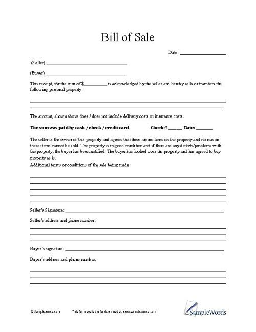 Bill Of Sale Form  Free Printable And Craft