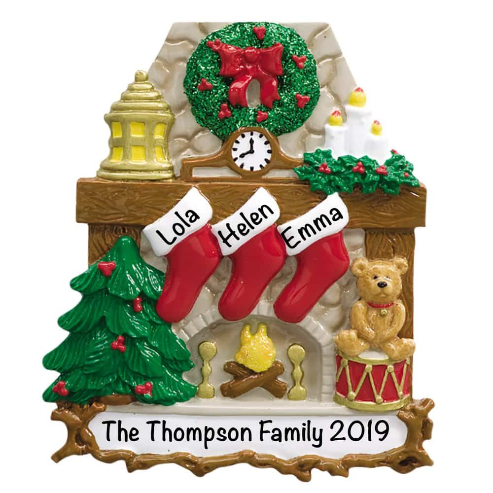 Hanging Stocking Family Of 3 Personalized Christmas Ornament