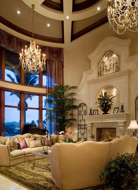 Gorgeous Living Room Design In Mediterranean Style With High Ceilings, A  Fireplace And Travertine Tiles