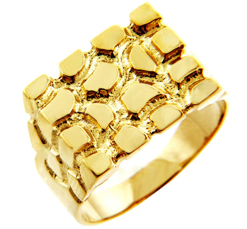 Men S Armour Solid Gold Nugget Ring Available In Both 10k Or 14k Gold Mens Gold Rings Gold Nugget Ring Rings For Men
