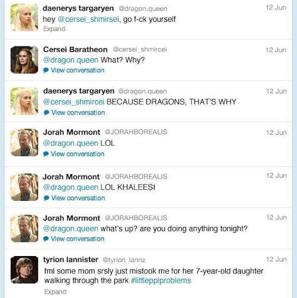 If 'Game Of Thrones' Characters Had Twitter…