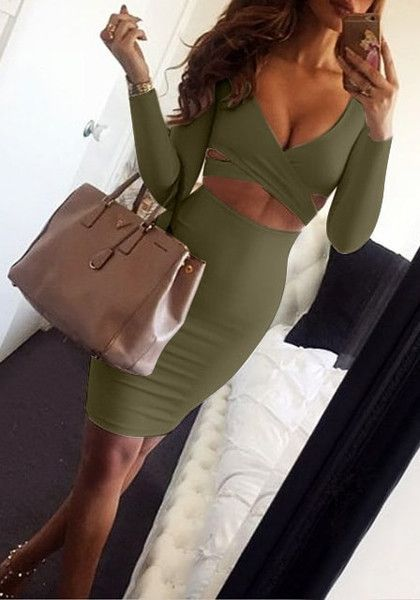 Sizzle in style with this olive green bodycon skirt set. It comes with a crossover crop top and a stretchable midi skirt.   Lookbook Store Date Night Style