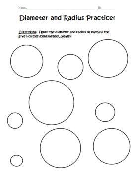diameter and radius practice education stuff pinterest students math and school. Black Bedroom Furniture Sets. Home Design Ideas