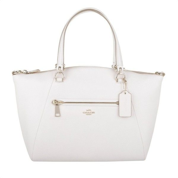 Coach Prairie Peebled Leather Satchel Light Gold/Chalk in white ...