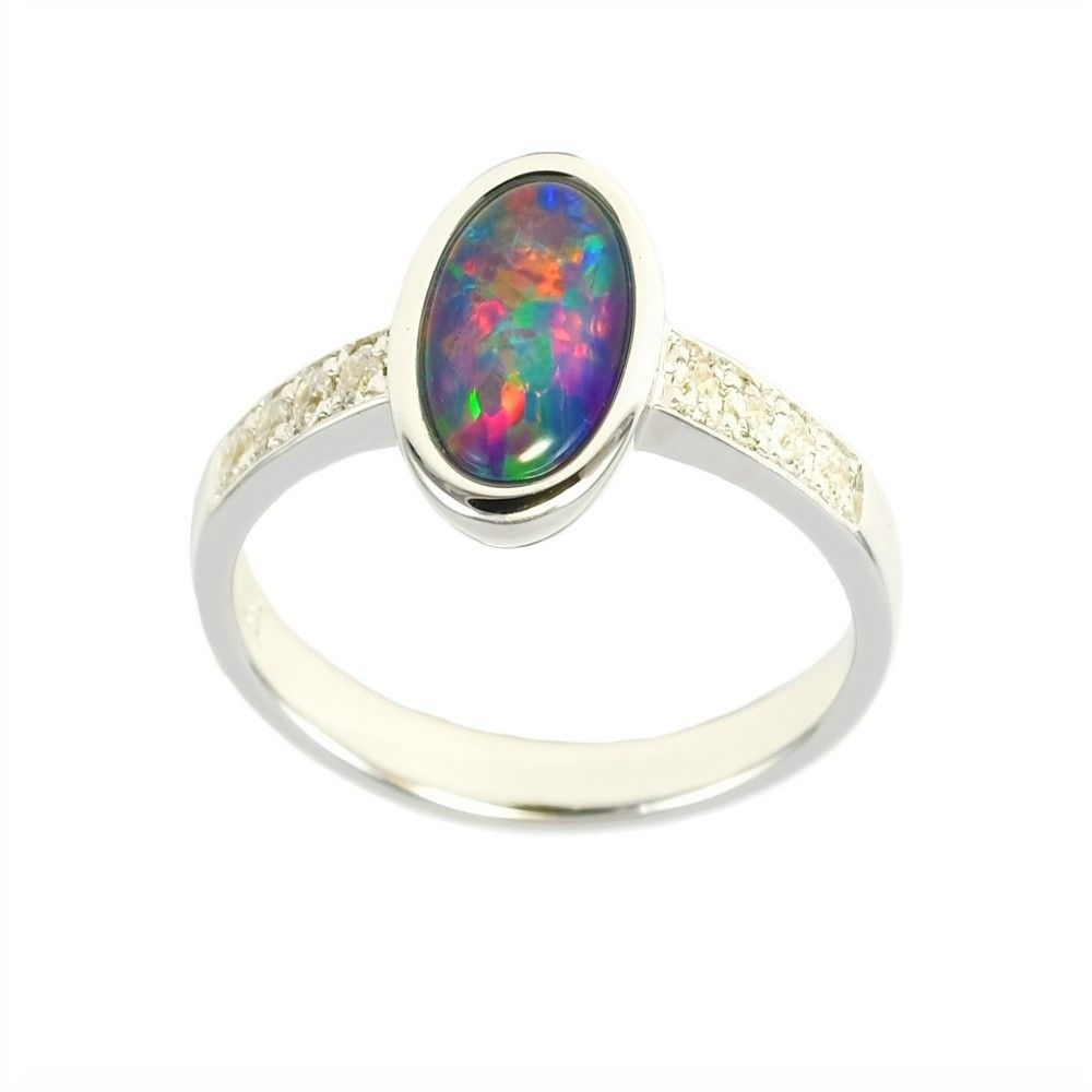 Amazing Rainbow Sterling Silver Australian Opal Ring Black Opal Ring Opal Rings Australian Opal Ring