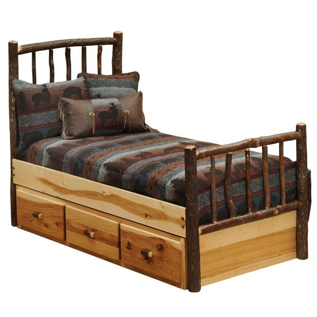Hickory Traditional Log Bed With Underbed 3 Drawer Dressers Queen