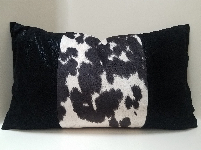 Faux Leather Pillow Cover, Cow Color Block Pillow, Lumbar Pillow, Tribal Throw Pillow, Decorative Pillow, Accent Pillow, Luxury Pillowcases