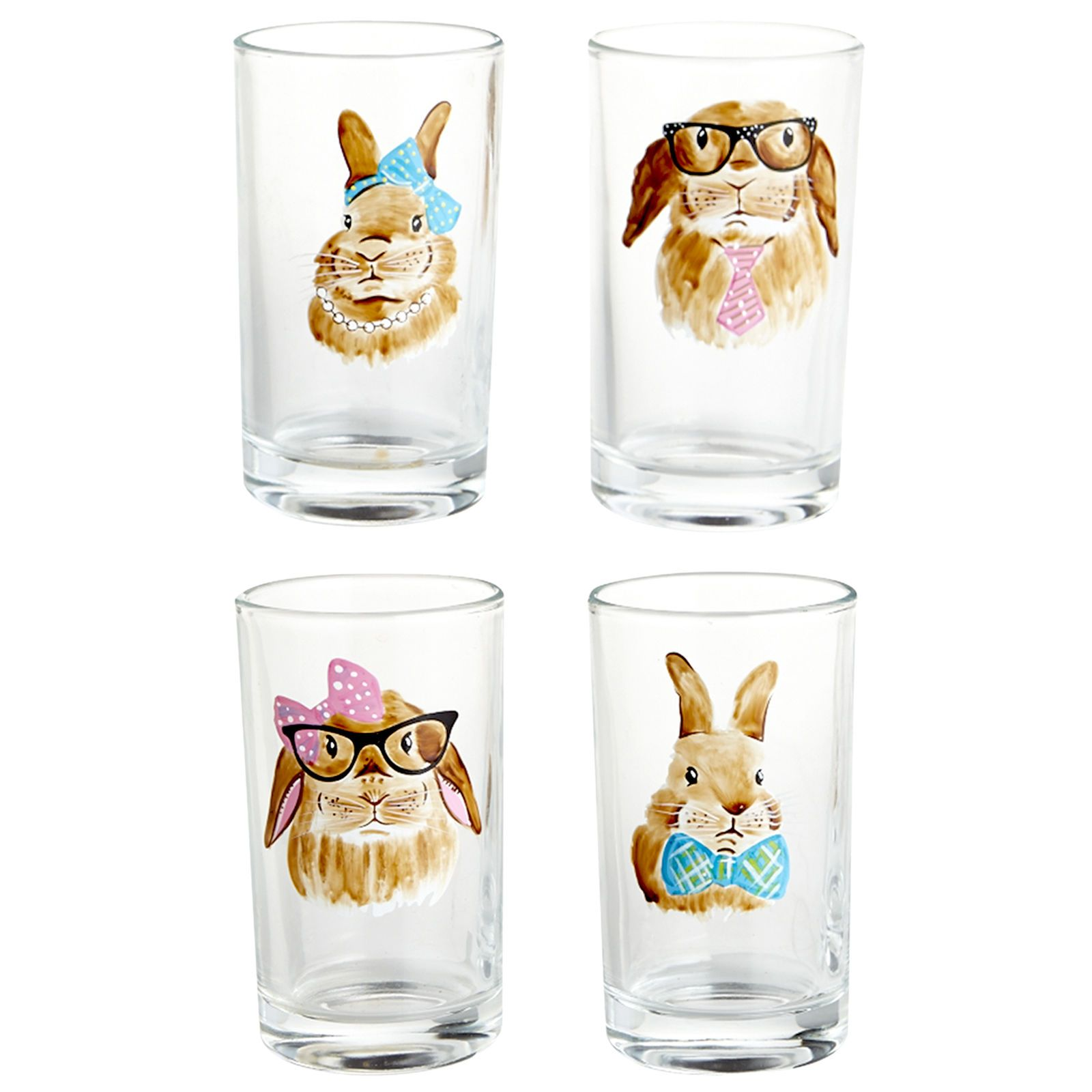 They say you should never separate bonded rabbits, so it's a good thing these adorable bunnies come as a set of four. Their charming, well-accessorized faces have been painted by hand atop soda lime glass tumblers, ready to bring Easter cheer to all who sip from them.