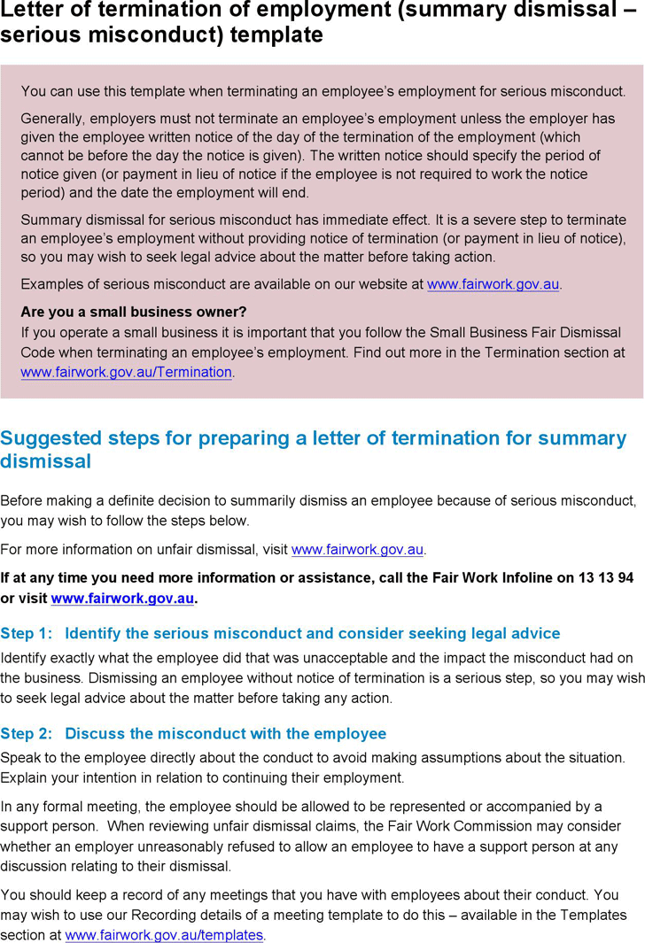 The Letter Termination Employment Summary Dismissal Serious Sample