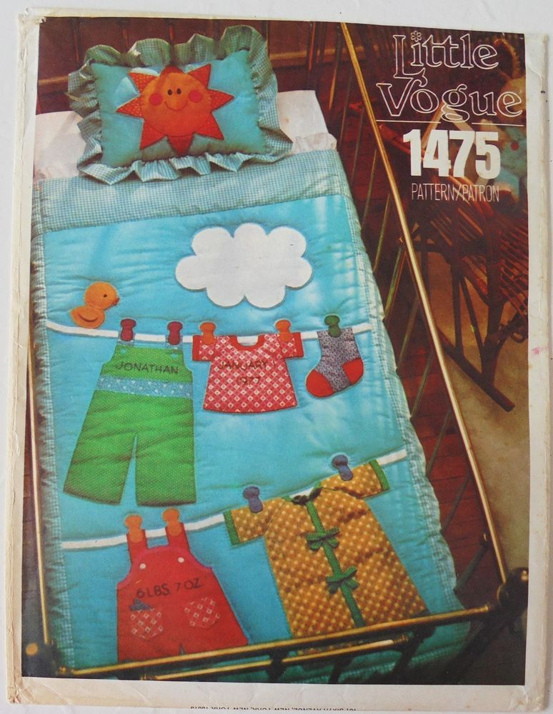 Vogue 1475 Baby Birth Record Clothesline Crib Quilt & Pillow Sham ...