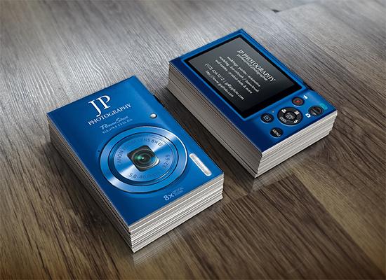 Blue digital camera business cards custom business cards blue digital camera business cards colourmoves Choice Image