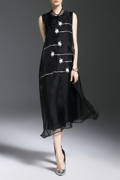 Ocofeiyan Black Swan Embroidered Silk Dress | Midi Dresses at DEZZAL