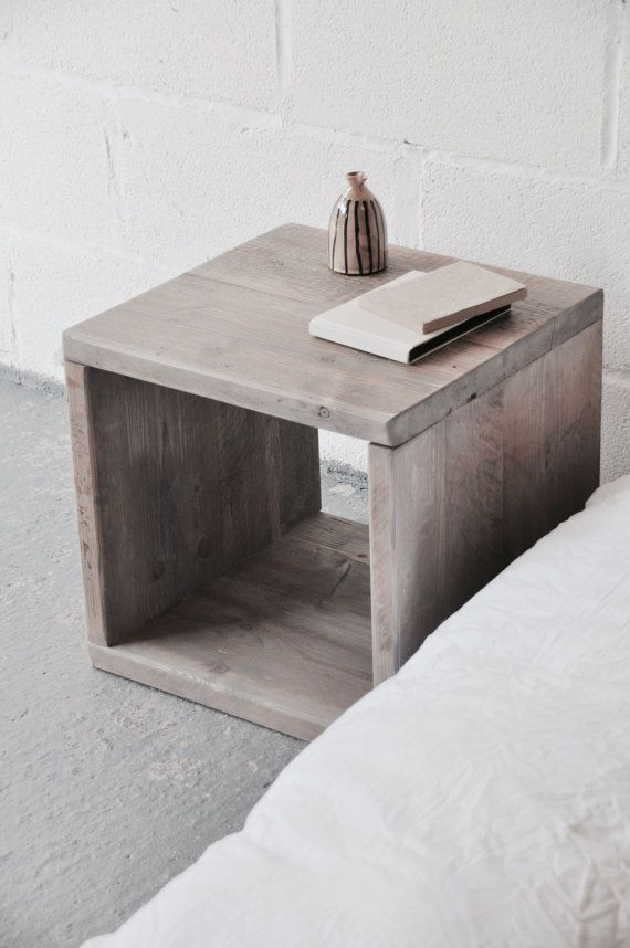 Rustic Wood Bedside Table: Bedside Table Nightstand Cabinet Reclaimed Wood Side Table