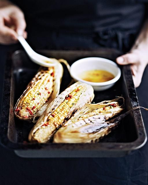 Grilled Corn with Chili Butter by sweetpaulmag #Corn #Chili_Butter