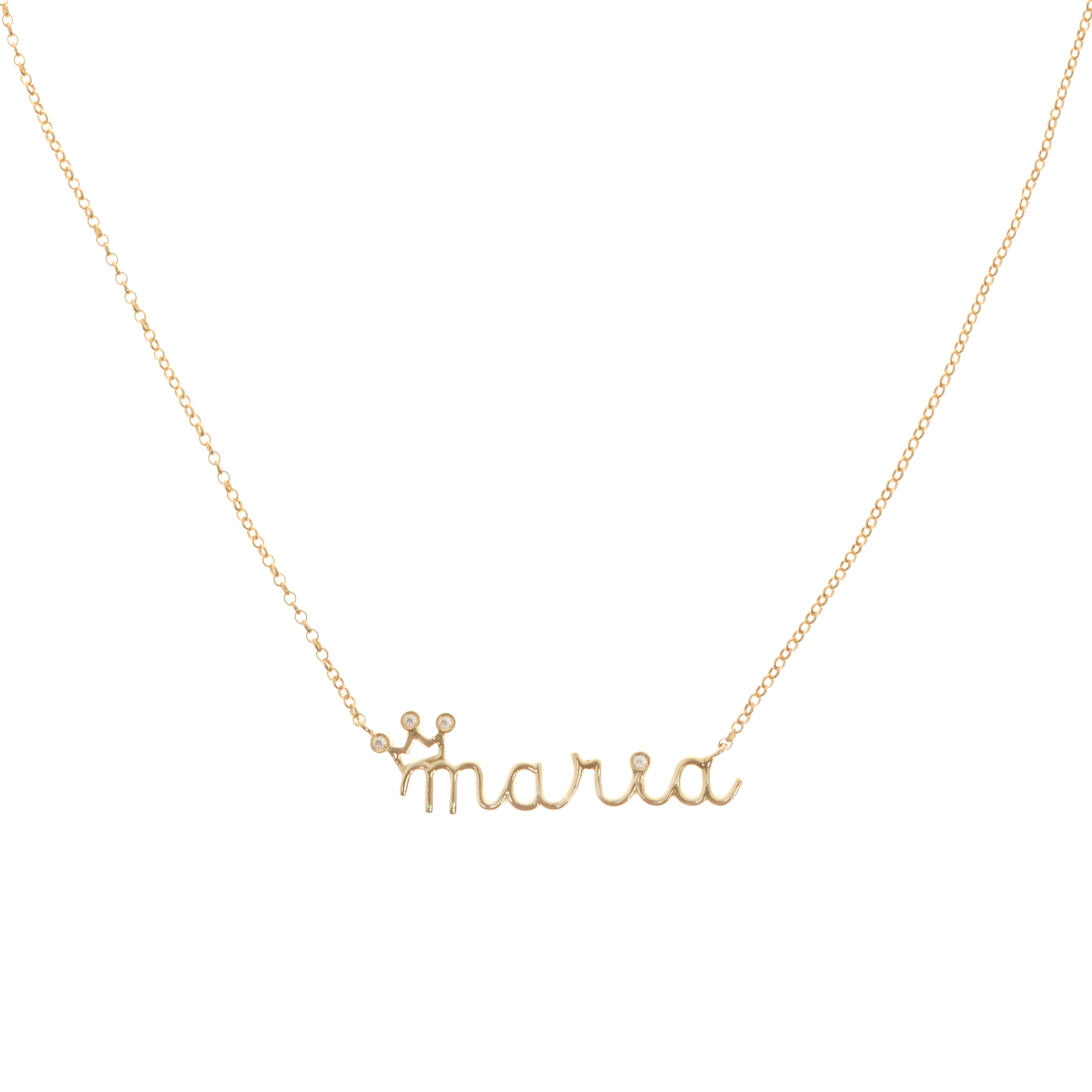 colar nome personalizado com coroa, em ouro e diamantes   name custom made  necklace, diamonds and gold 18k  fabimalavazi 6cb88891a1