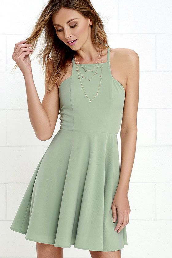 2f55279ab176 Prepare to sweep all your sweethearts off their feet with the Call to  Charms Sage Green Skater Dress! Sleek woven poly shapes an apron neckline  and seamed ...