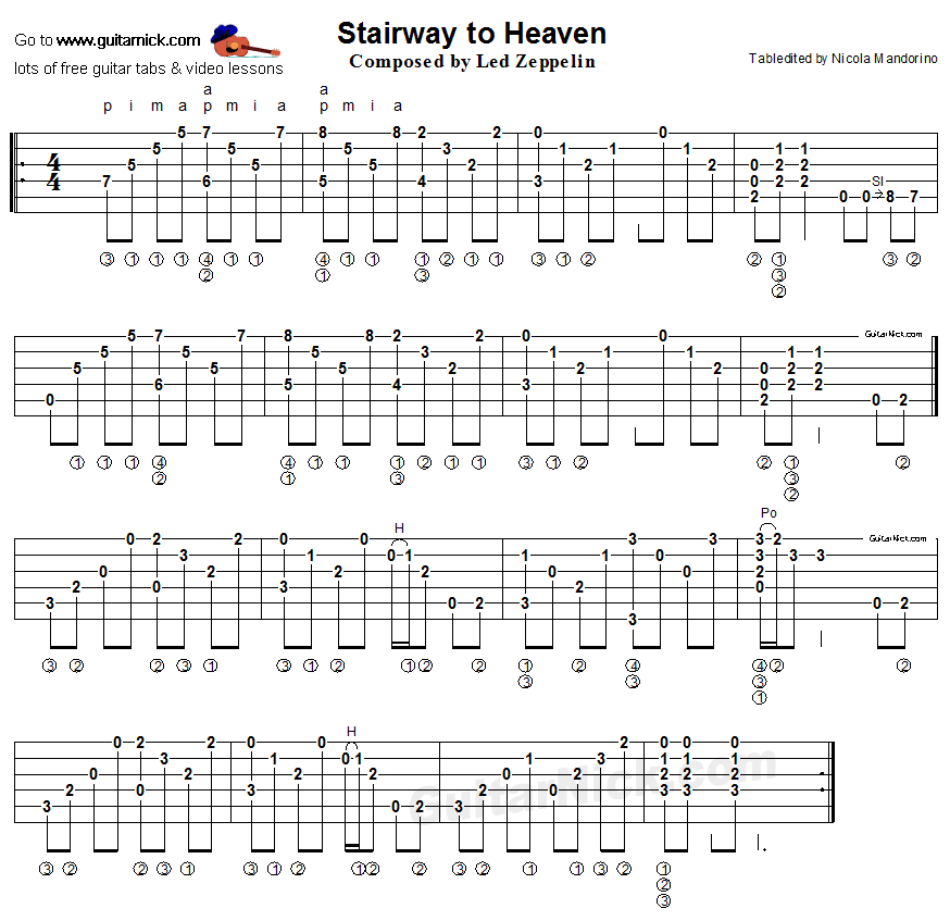 Stairway To Heaven Led Zeppelin Fingerstyle Guitar Tab Http