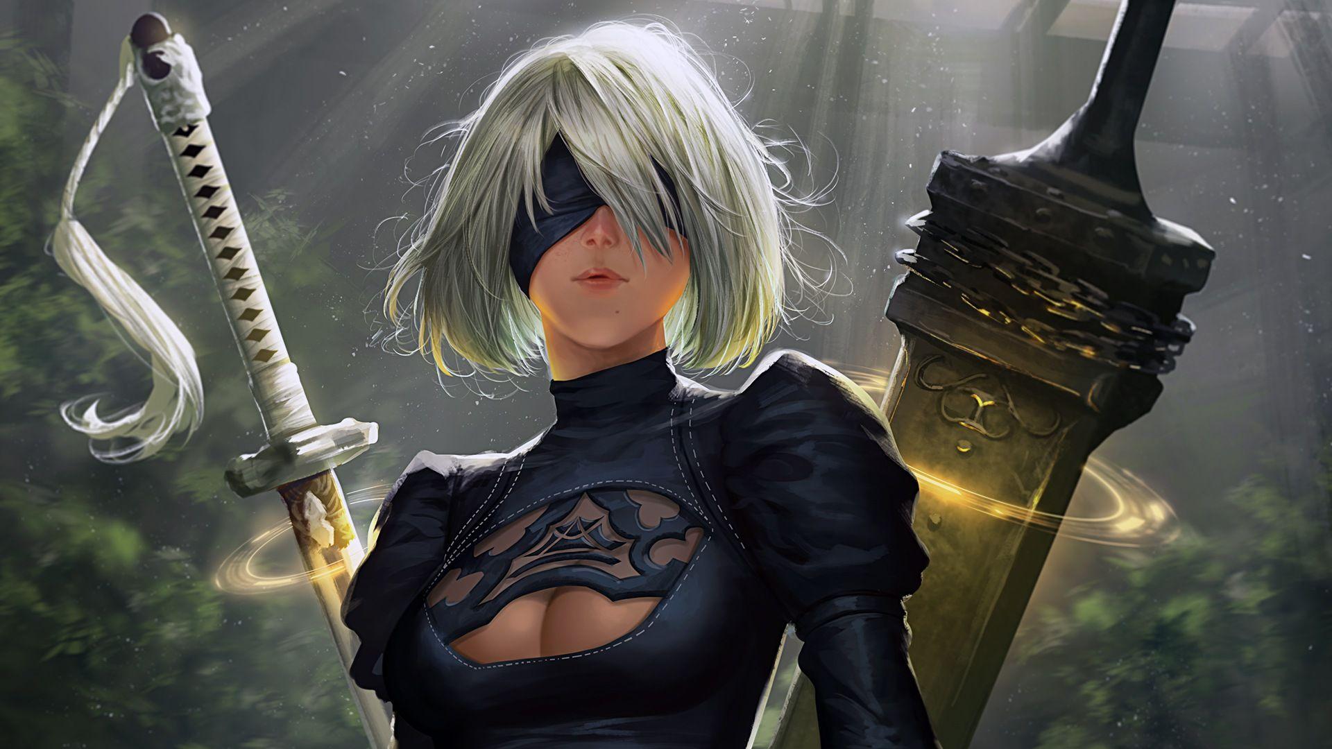 2b Nier Automata Katana Hd 4k Wallpaper: 2B Katana And Sword Nier Automata Girl #32975