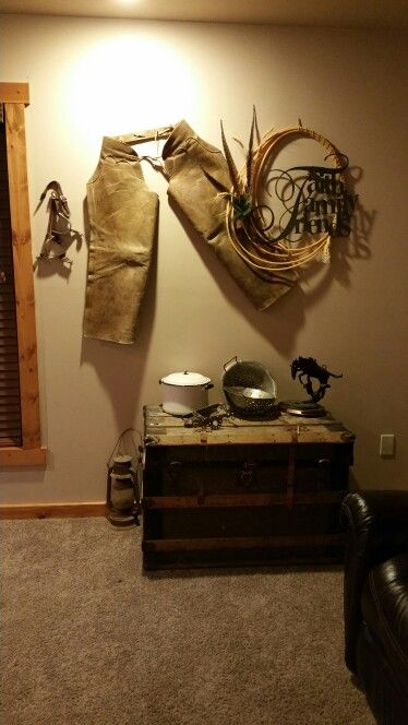 Western wall decor with chaps, spurs, and rope. | decor | Pinterest ...