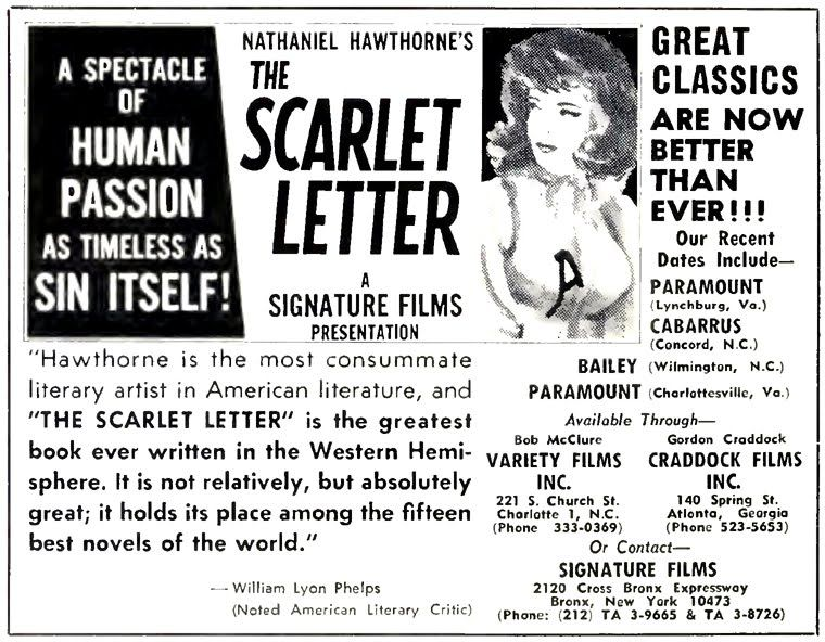 the scarlet letter film screening ad. | the scarlet letter 1979