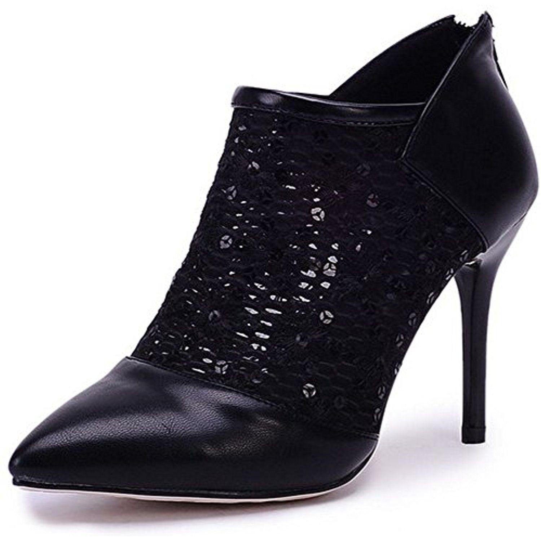 LongFengMa Fashion Women Stiletto Boots Pumps Lace