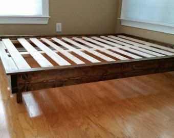 Solid Wood Platform Bed Bed Frame Low Profile Bed By PeaceLoveWood