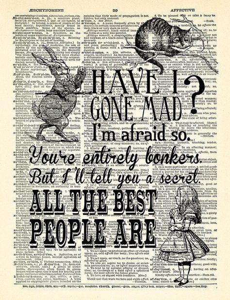 Ich habe Gone Mad Zitate Alice in Wunderland Kunstdruck Vintage Buch Druck Alice POSTER Wörterbuch Seite Collage Wand-Dekor Buch-Wand-Kunst-348 #wallcollage