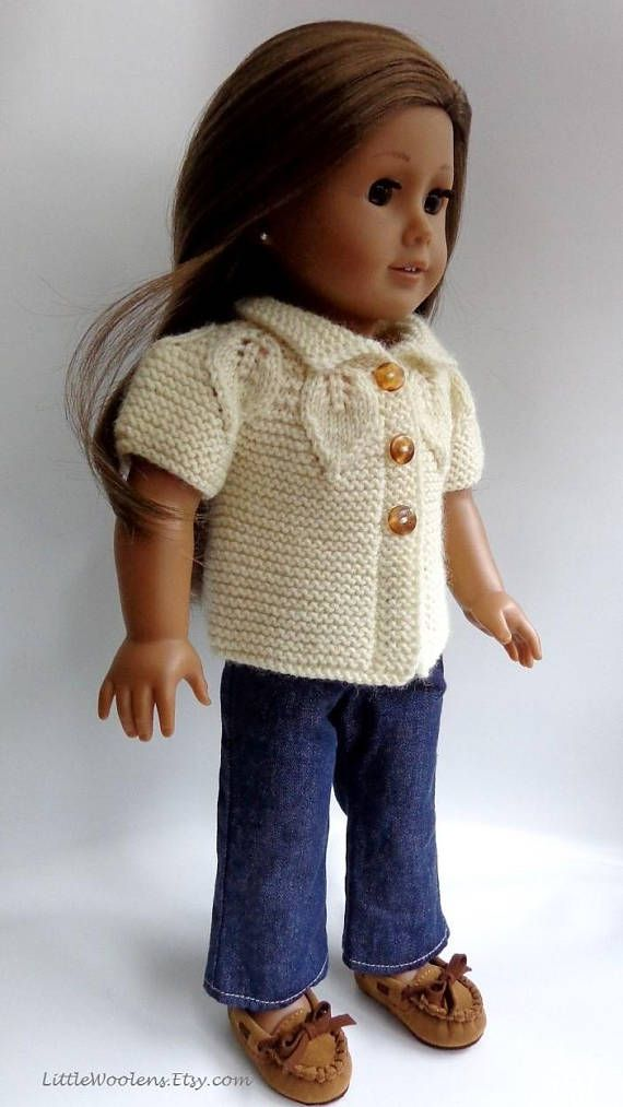 Hand Knitted 18 Inch American Girl Doll Clothing: Leaf Yoke ...