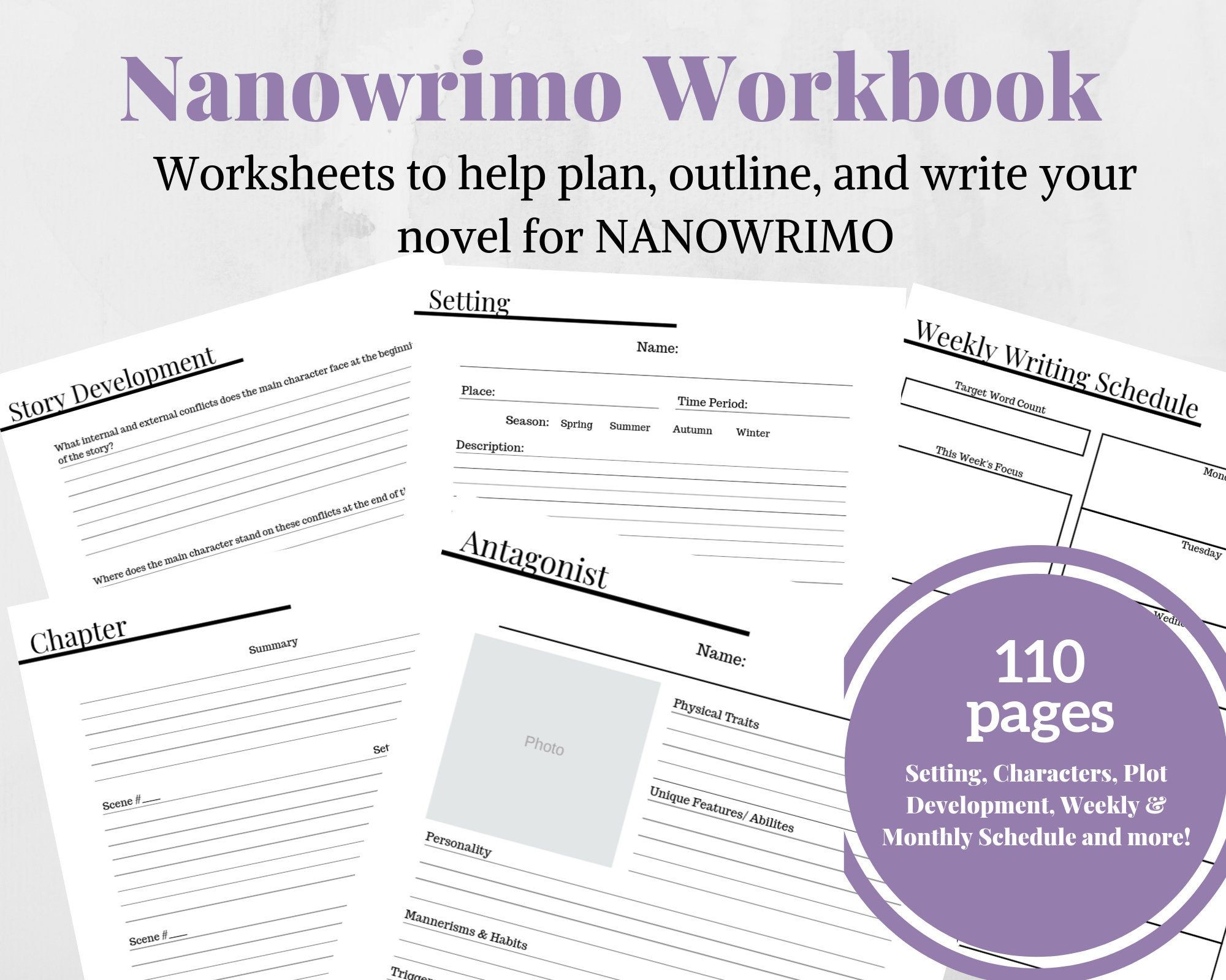 Nanowrimo 30 Day Novel Worksheets Writing Planner Novel