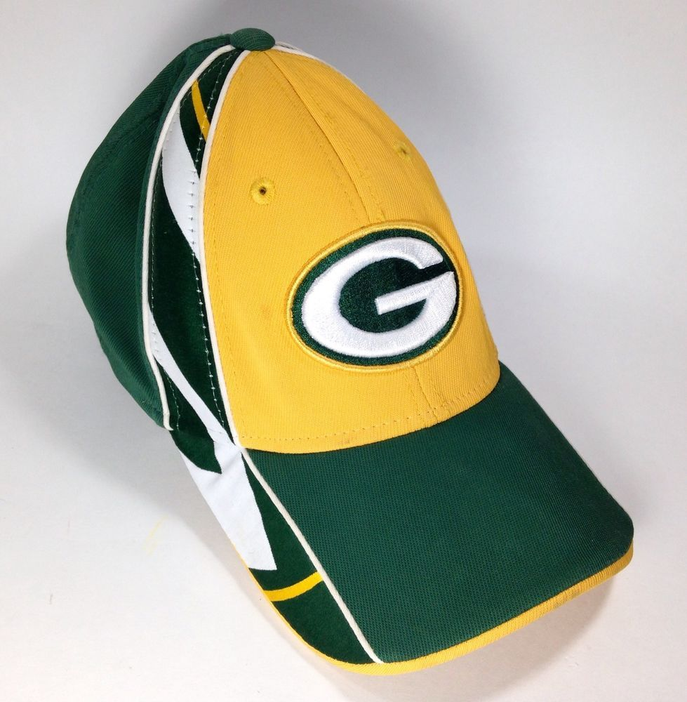 43a971fe280 NFL Green Bay Packers Reebok Flexfit Baseball Cap Hat Curved Bill Green  Yellow  Reebok  GreenBayPackers