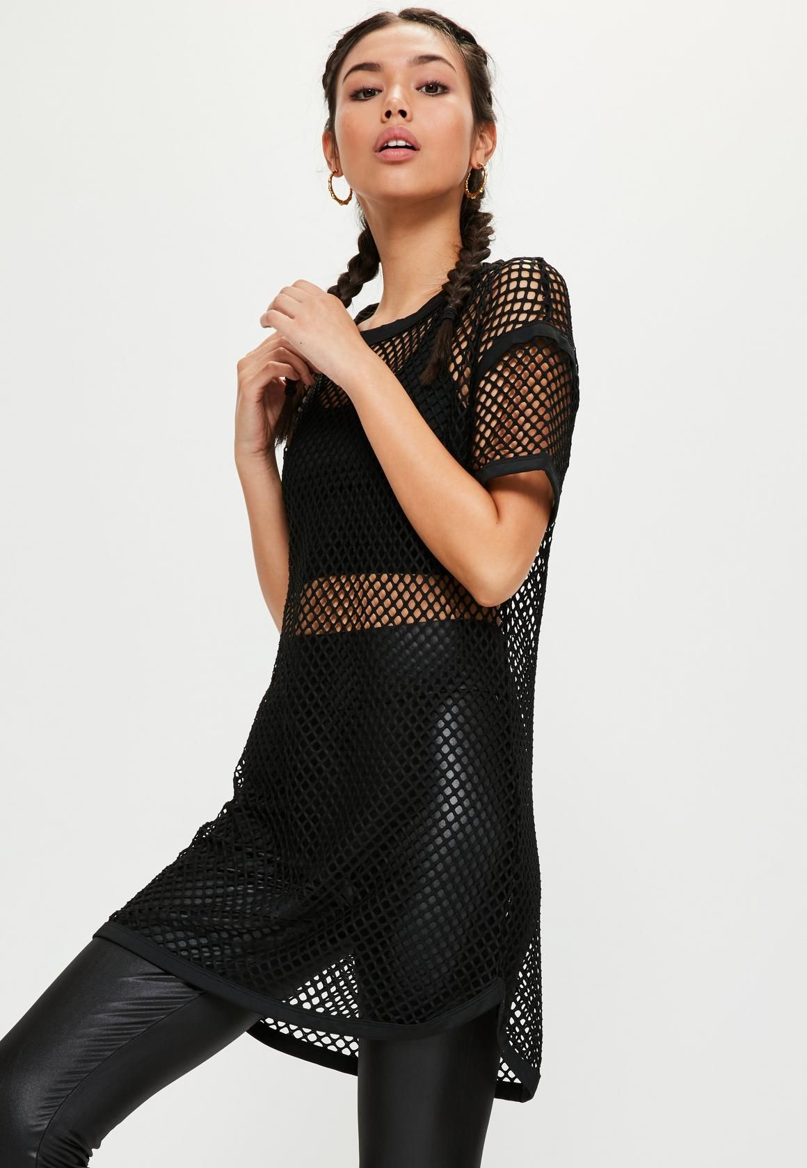Missguided - Active Black Fishnet Oversized T-Shirt  74c1ac180