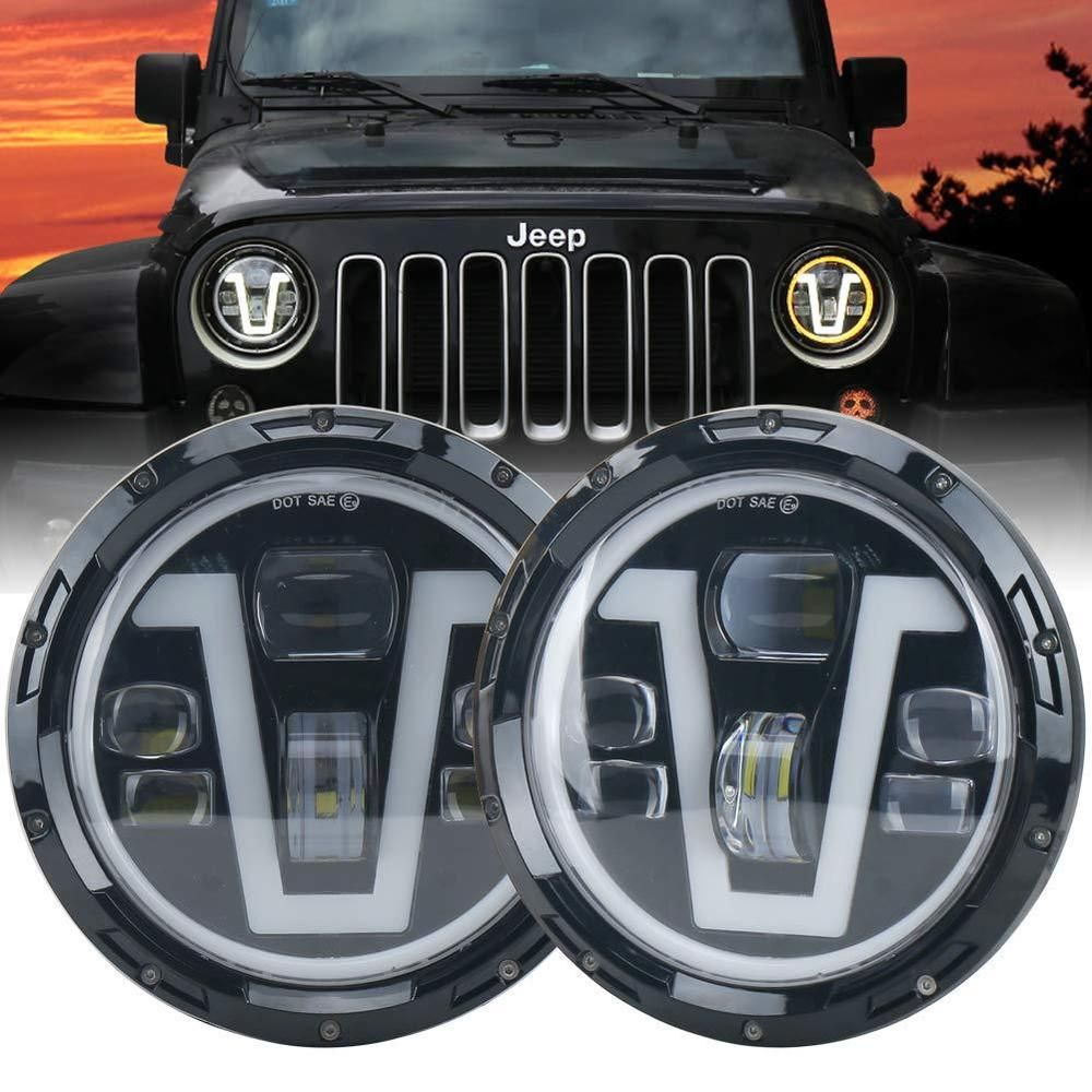 Jeep Wrangler Headlights Led 7 Inch With Halo Ring Amber Turn Signal Lights Drl Ovotor Jeep Wrangler Headlights Custom Jeep Jeep Wj