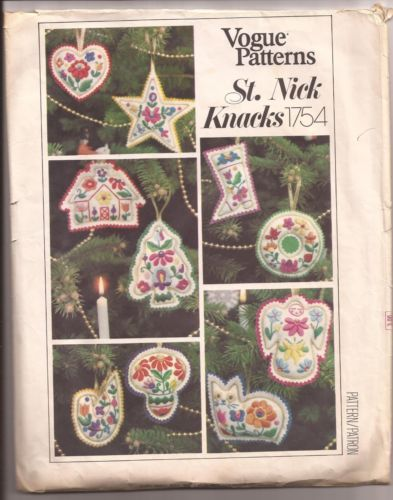 Vogue Patterns St Nick Knacks 1754 Christmas Ornaments Stockings | eBay