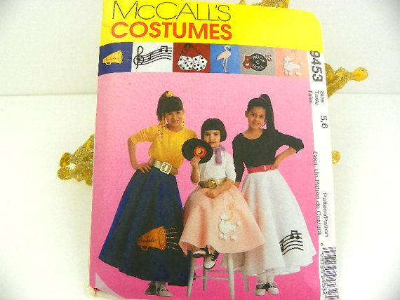 1950s Poodle Skirt Pattern McCalls Costume Childrens