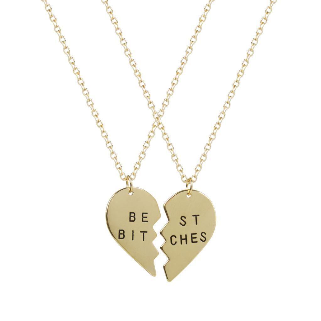 Lux best friends bff best bitches valentine heart pendant necklaces