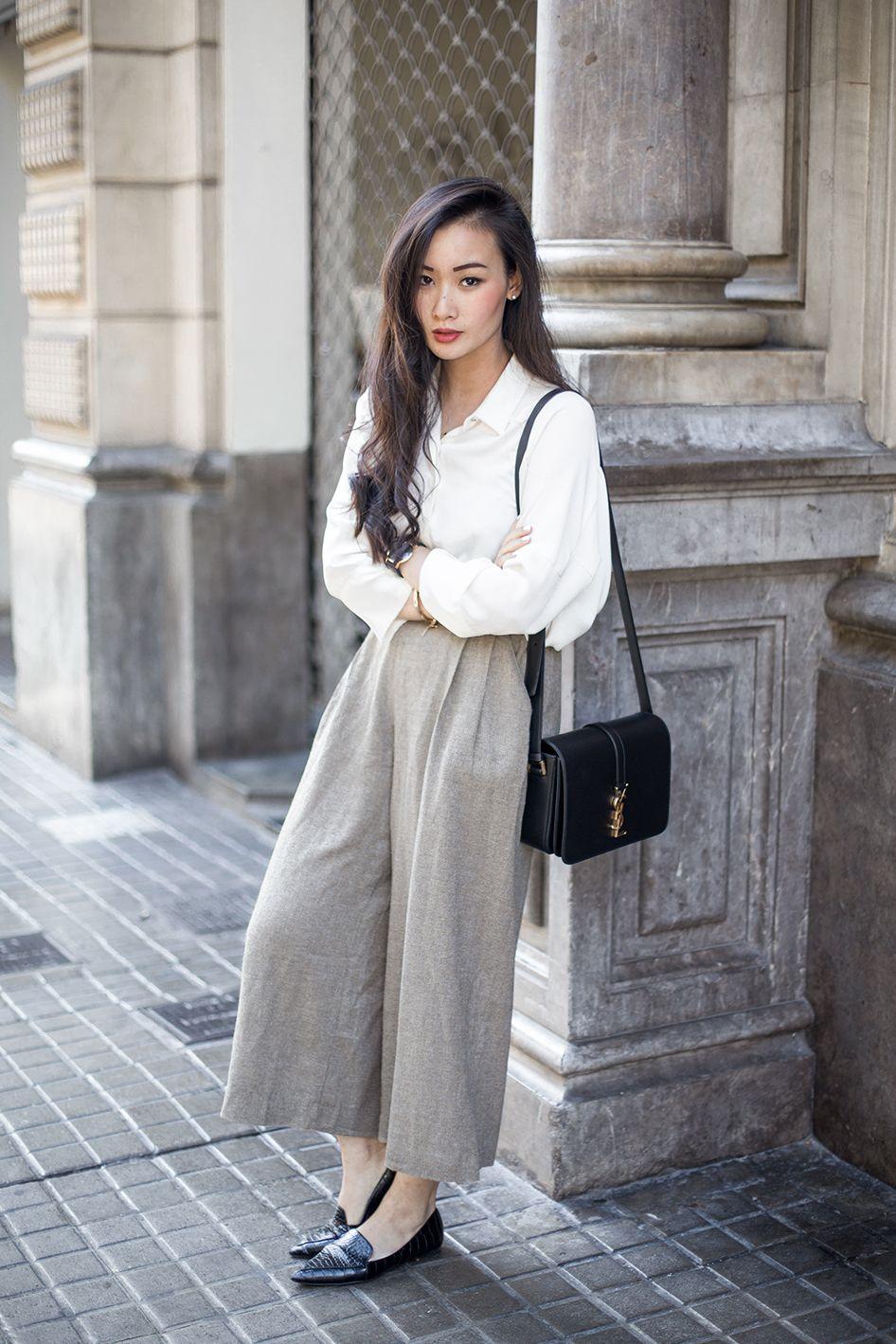 culottes  white blouse  pointed flats  gaya berpakaian