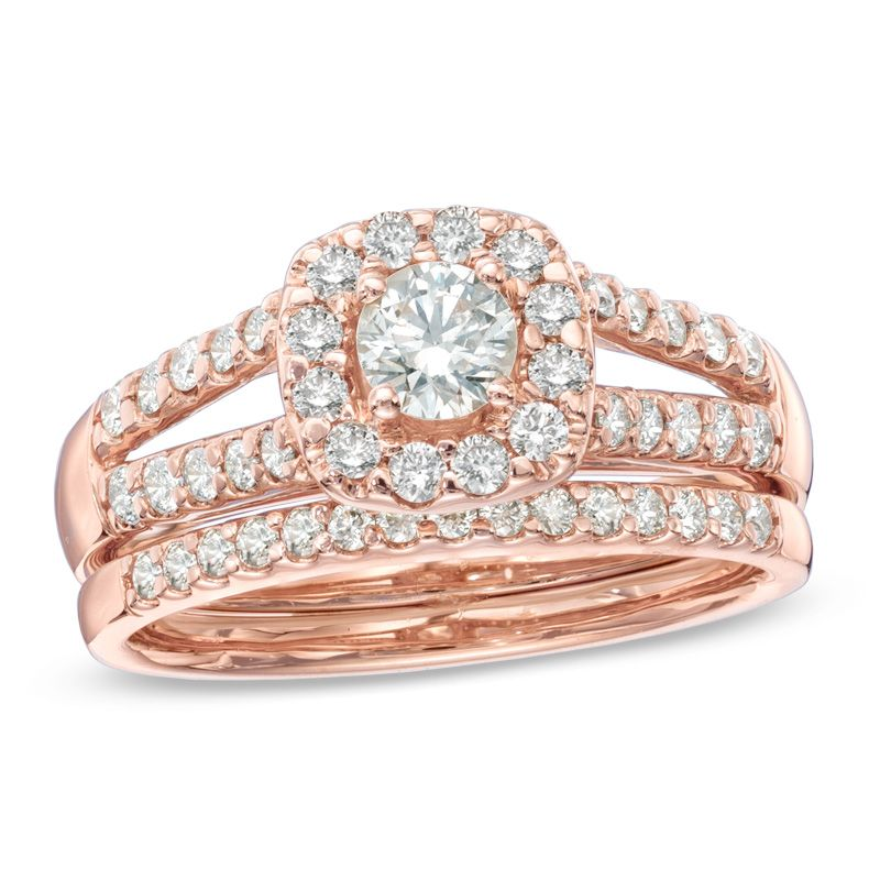 1 CT TW Diamond Frame Split Shank Bridal Set in 14K Rose Gold