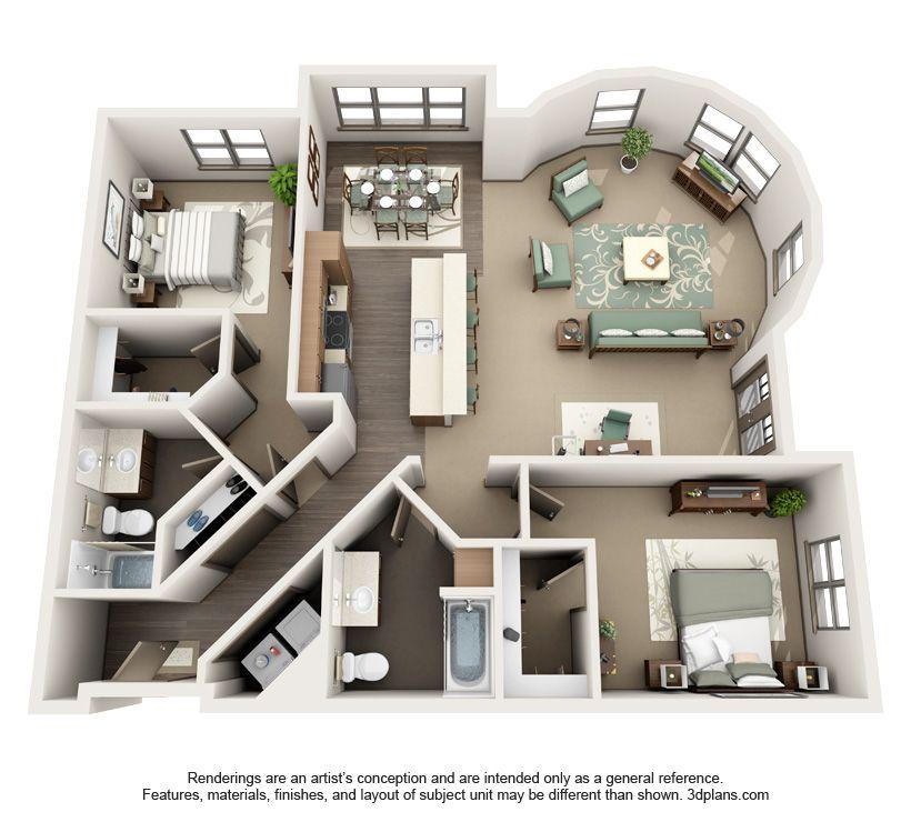 Www Platform14apts Com Roundhouse 2x2 2100 House Plans Apartment Layout Small House Plans