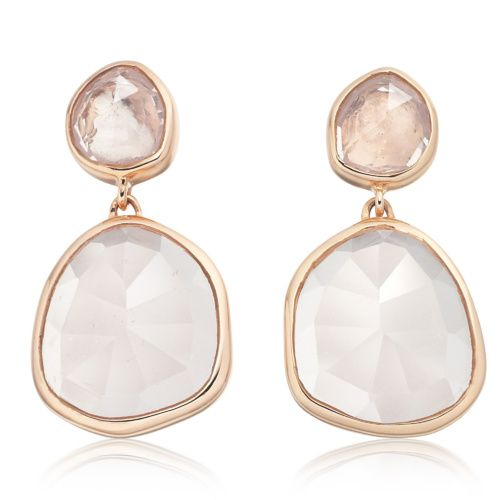 Rose Gold Siren Stud Earrings Rose Quartz Monica Vinader O3T1xNoHrq