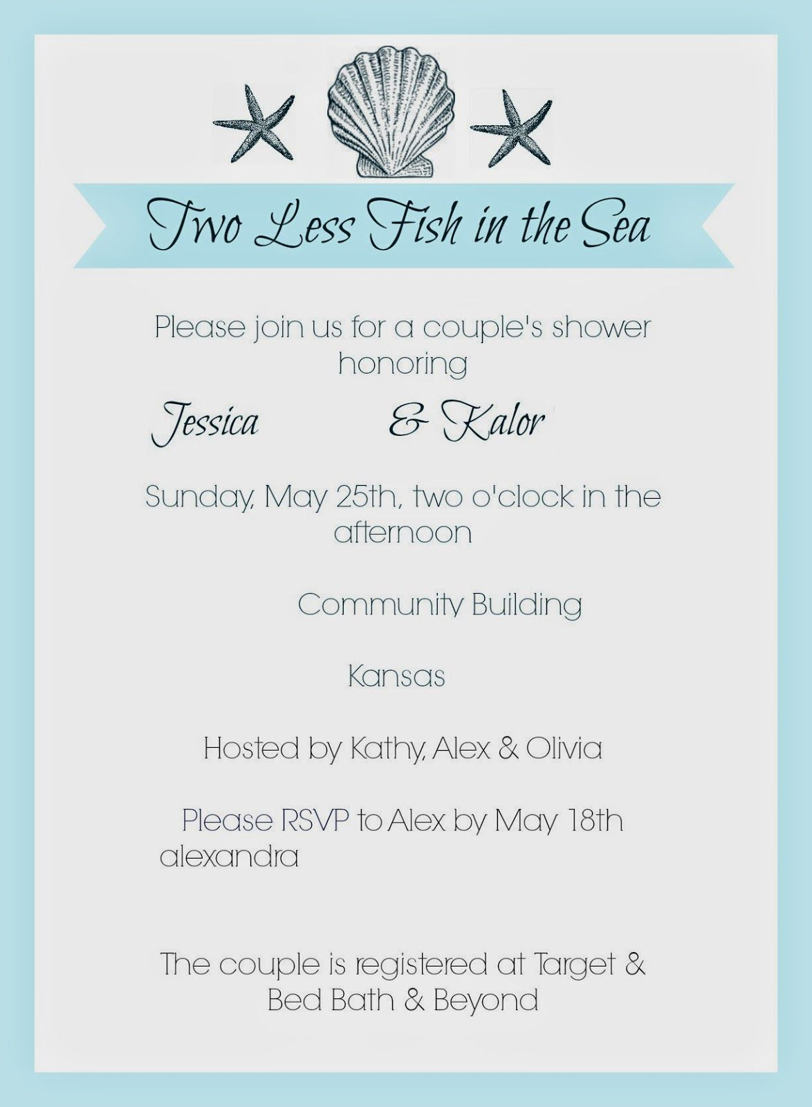 Elegant Beach Theme Bridal Shower Invitations