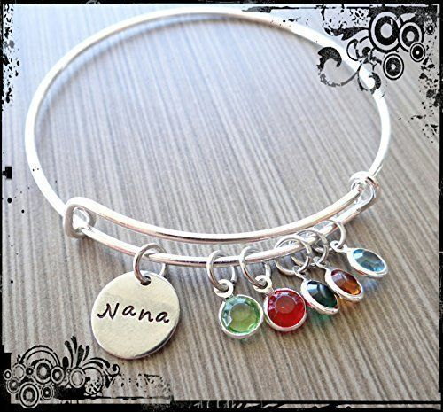 Fortheday Custom Mother Bracelet with 3 Simulated Birthstones Mom Bracelet Charm Name Bangle Bracelets Personalized for Women Girls Jewelry Gifts
