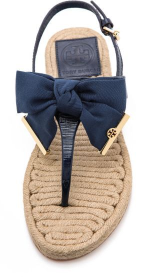 ae40e20c54f Tory Burch Penny Flat Thong Espadrilles Camellia Pink in Blue (Newport  Navy)