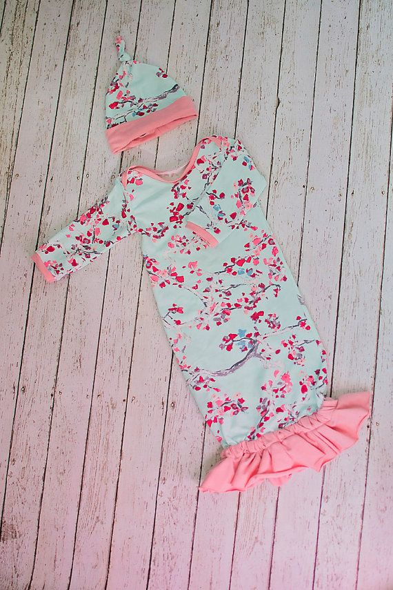 4989b16537b5 Floral Baby Gown, Coming Home Outfit Girl, Pink Infant Outfit, Infant Hat, Newborn  Hat, Baby Shower Gift Girl, Vintage Inspired Baby