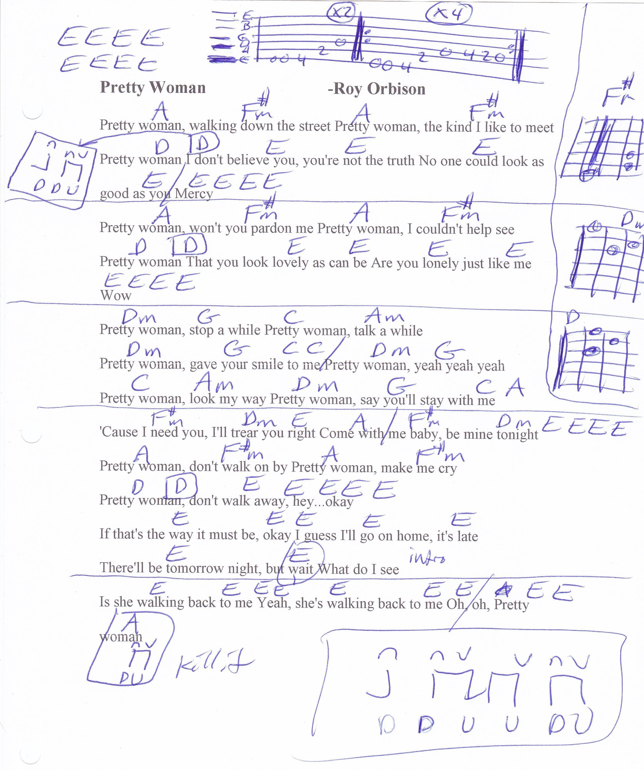Pretty Woman Roy Orbison Guitar Chord Chart Guitar Playing