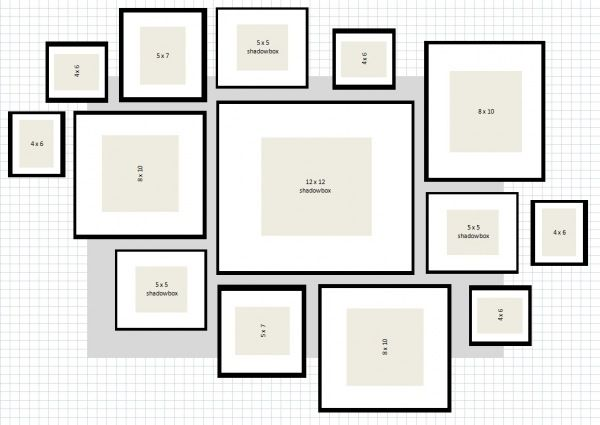 Picture Layout For Gallery Wall Using Ikea Ribba Frames Heart