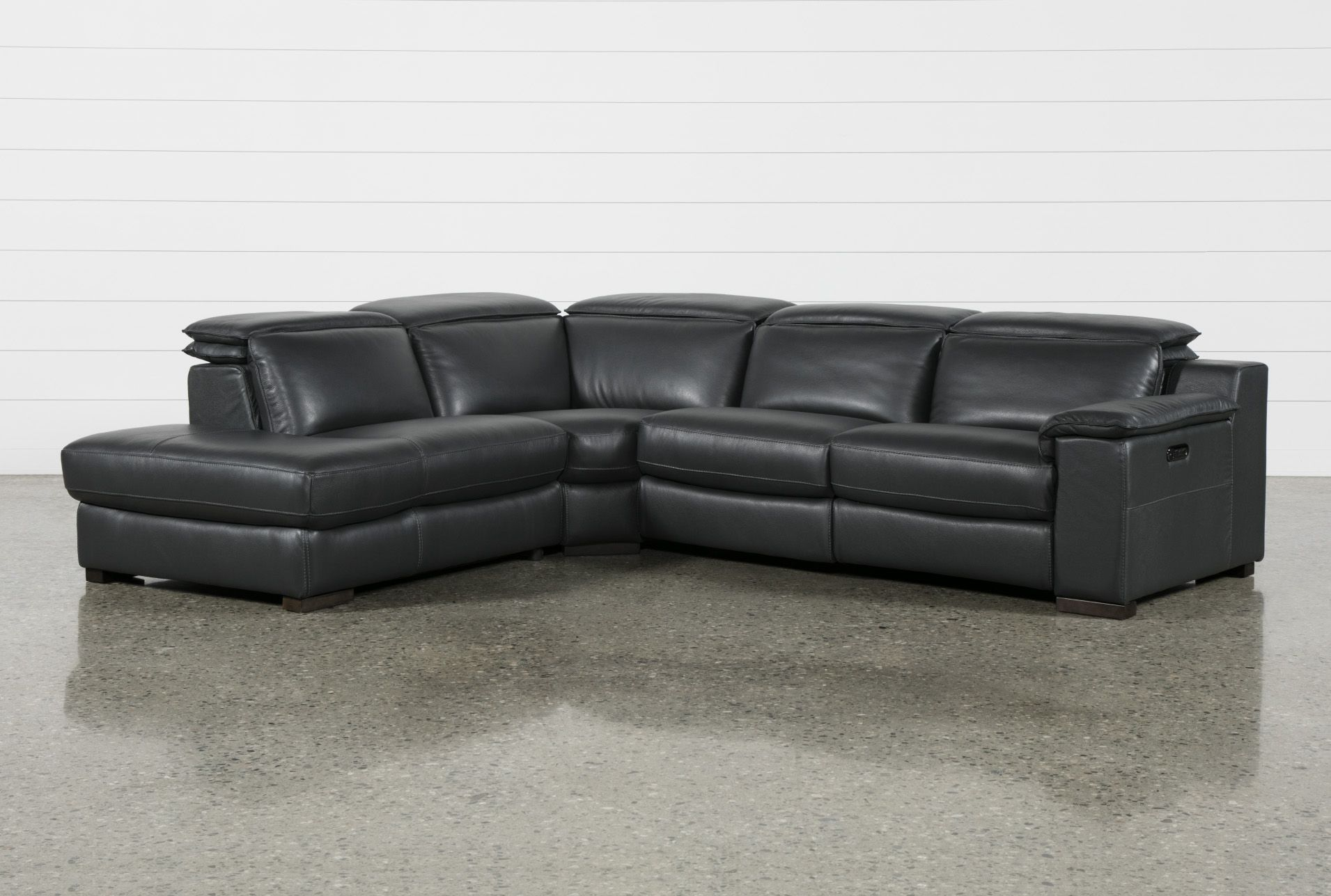 Contemporary Leather Reclining Sectional Sofa Power Reclining