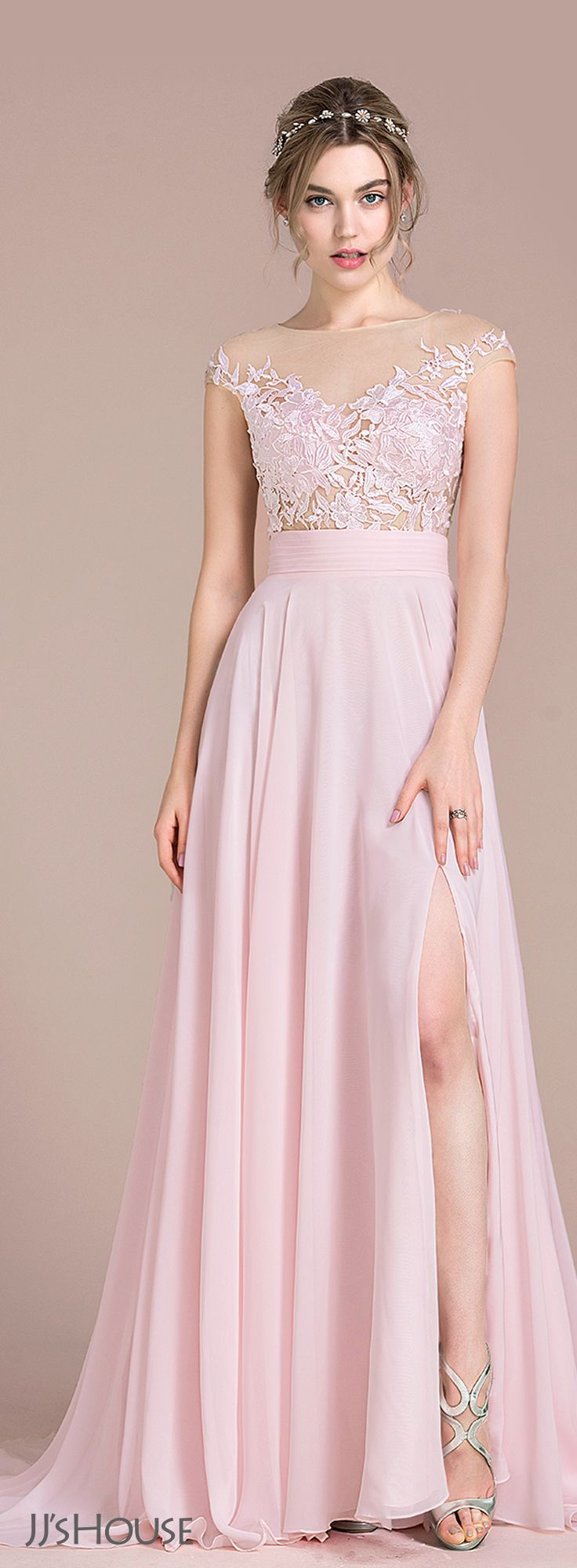 A-Line/Princess Scoop Neck Sweep Train Chiffon Prom Dresses With ...