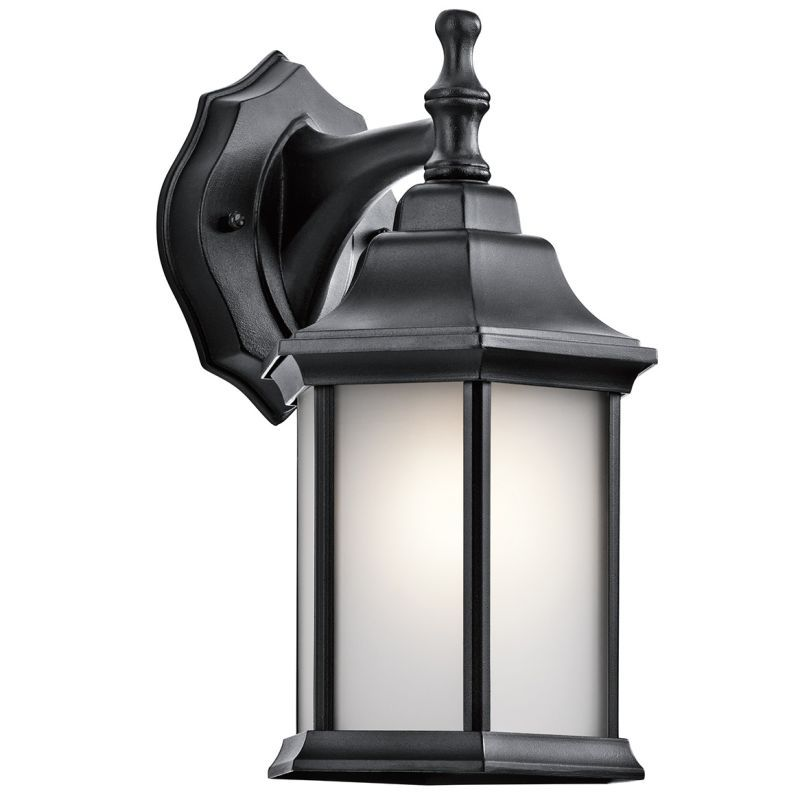 kichler 9776s chesapeake 1 light outdoor wall sconce with satin etched glass pan black outdoor lighting - Kichler Outdoor Lighting
