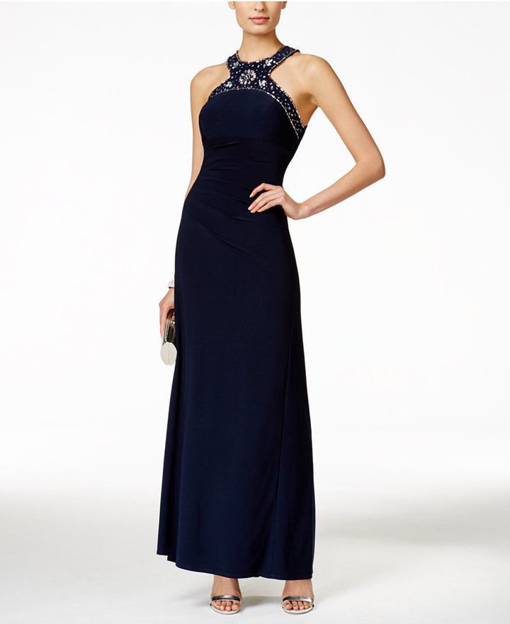X by Xscape Beaded Ruched Halter Gown | Dresses | Pinterest ...